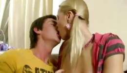 Amazing blonde is on her knees sucking and gets hands on smashed vulgar inside