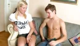 Playful young sandy colored is getting pleasure from a tremendous fat boner inside her