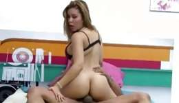 Brazilian hot bitch is riding in a minute on the massive rock hard prick
