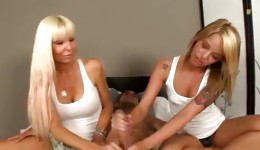 Perfect mother decided to give some handjob lessons to her daughter