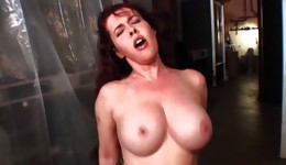 Sexual bitch with huge melons getting them fucked and ejaculated full over