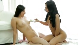 2 wonderful damsels are playing with their thrilling shaven twats