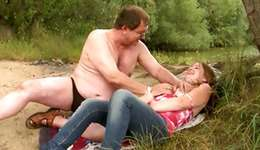 Old unattractive somebody having steamy intercourse in a countryside with some infant sweetie