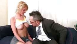 Blond bombshell is deep kissing a intense energetic 10-pounder