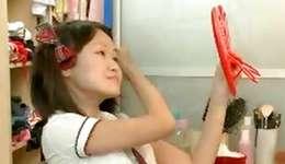 An non-conventional Asian floosie is gratifying her fine miniature twat  herself