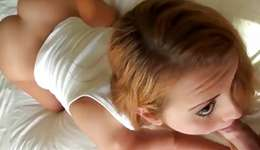 Natural bright-haired miss is swallowing a larger sweetmeat which is slamming her wet eye