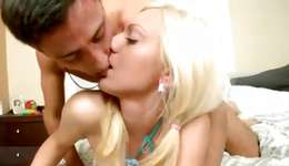 Blonde tramp is getting her prodded with a intense act of love tool