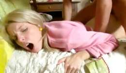 Adult baby brilliance is moaning midst getting her hole pounded on her bed