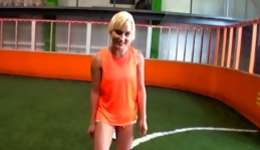 Lovely blonde was playing football and blowing a lusty huge rod