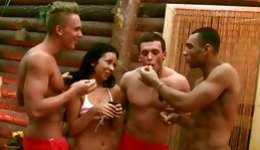 Randy foursome starring spicy masters banging licentious brown-haired on the pool table