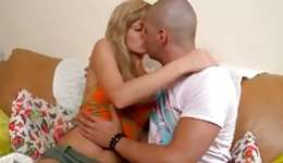 Blonde desirous bitch is having unrestricted fun with bald headed guy