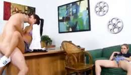 Fine threesome where she excitedly buggered rough