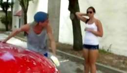 Nerdish young mademoiselle in steamy clothes seduces her muscular bf near the car