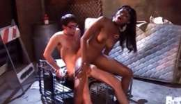 Hot ebony slut is getting her beaver and face screwed heavy by her man