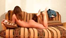 Lengthy legged naked beauty is showing her fabulous body touching it