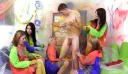 Humiliating intercourse where a cute painter is smashed by several improper actresses