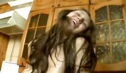 Immature wet bitch is in a kitchen satisfying her charming oiled orifice